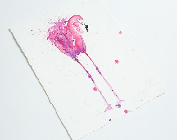 Flamingo Painting Original Watercolour Painting Original Flamingo Wall Art Pink Flamingo Watercolour Painting by Syman Kaye
