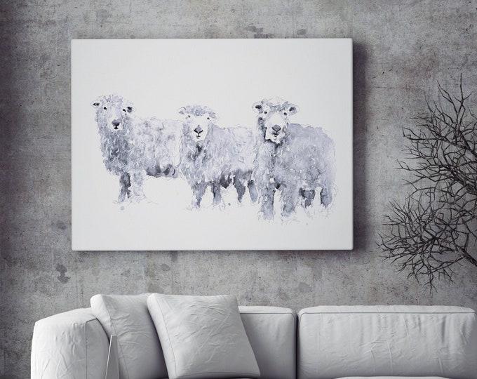 Sheep Canvas - Hand signed Abstract Canvas Print of original Watercolour Painting Grey Faced Dartmoor Sheep