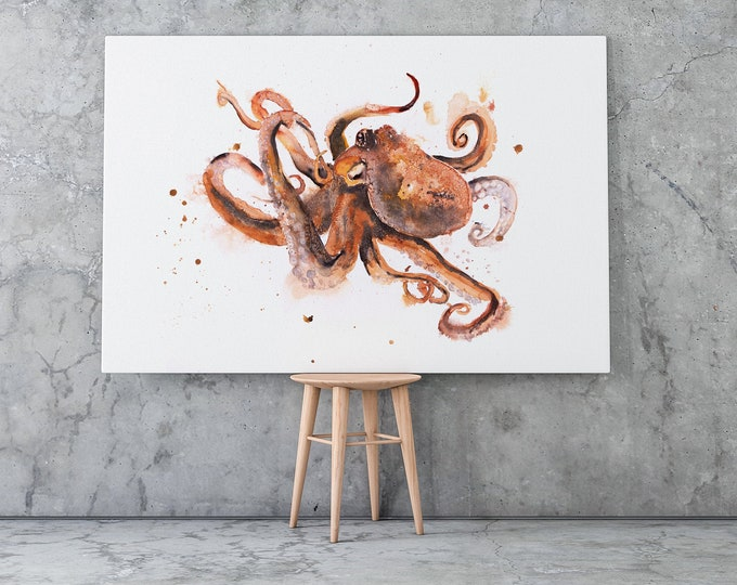 Octopus Canvas Print - Hand Signed Octopus Canvas Living Room Wall Art