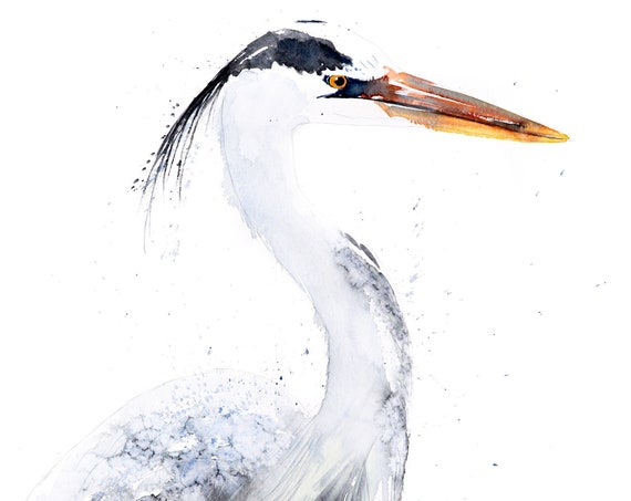 Heron Watercolour Painting Limited Edition Print Modern Abstract Heron Wall Art Home Decor Gift Bird