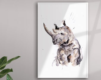 Rhino Painting - Rhinoceros Watercolour Painting - Hand Signed Limited Edition Print of my Original Watercolour Painting of an African Rhino