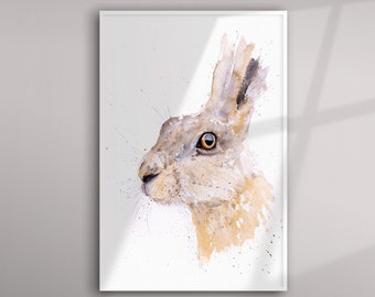 Hare Painting- Hand Signed Limited Edition Print - Living Room Art - From my Original Watercolour Painting of a Hare