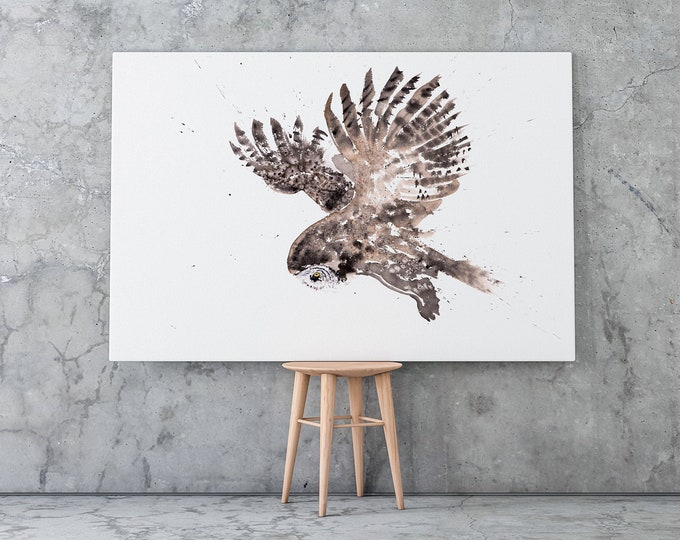 Owl Canvas Print- Hand Signed Great Grey Owl Bird Painting
