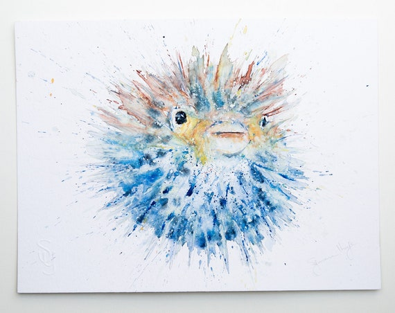 Puffer Fish Original Watercolour Painting - Watercolour Painting - Signed Original Watercolour Puffer Fish Painting by Syman Kaye