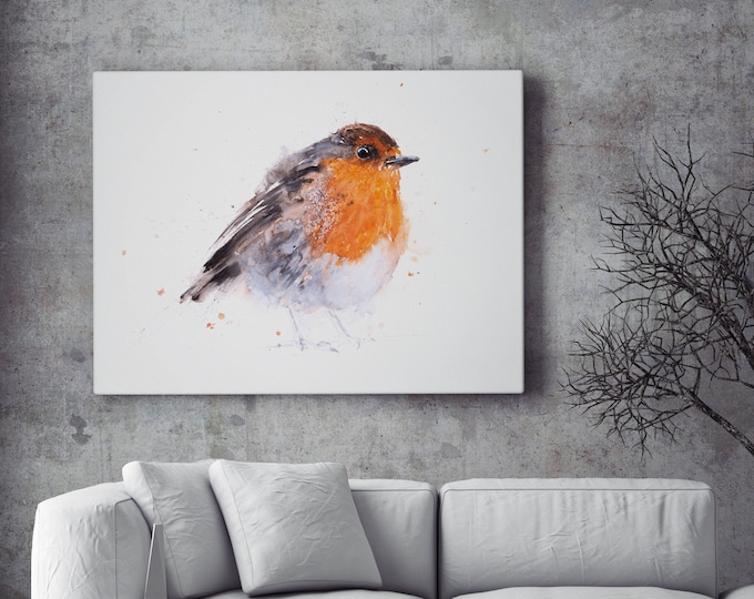 Robin Canvas Print- Hand Signed Robin Bird Painting