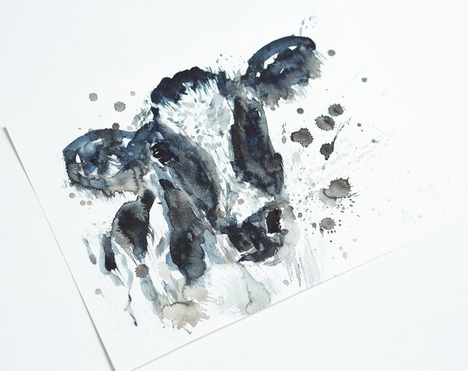 Cow Original Painting Watercolour Painting  Original Wall Art Cow Watercolour Painting by Syman Kaye
