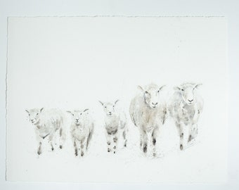"Sheep Painting - Original Watercolour Painting ""Family of Sheep"" - 30""x22""  56cmx56cm"