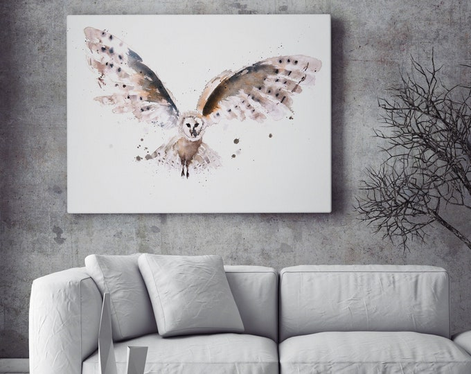 Owl Canvas Print- Hand Signed Owl Bird Painting