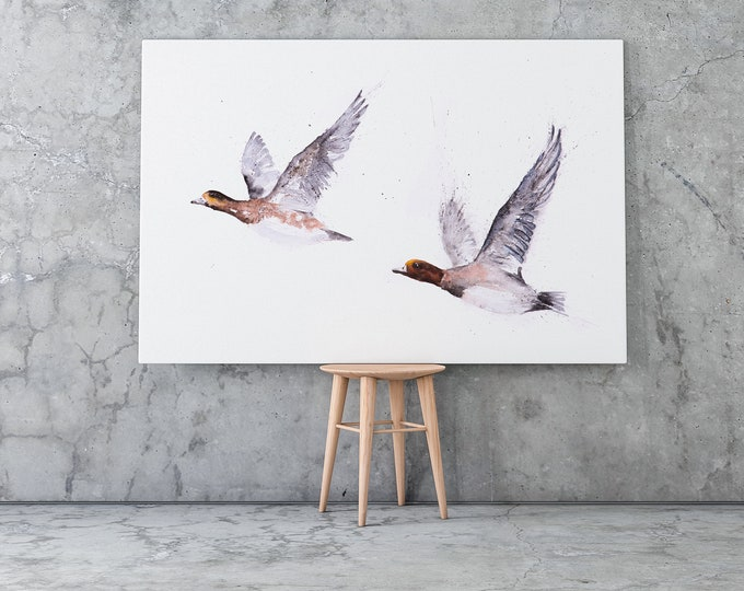 Widgeon pair Canvas Print- Hand Signed Widgeon Painting - Modern Abstract Watercolour Art Print of my Watercolor Bird Painting Home Decor