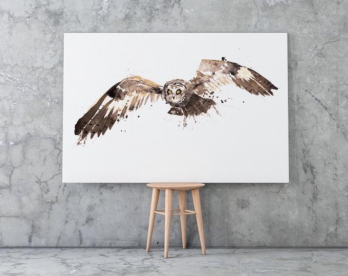 Barn Owl Canvas Print- Hand Signed Barn Owl Bird Painting