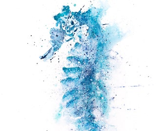 Seahorse Painting Seahorse Watercolour Painting Hand Signed Limited Edition Print of my Original Watercolour Painting of an Seahorse