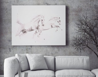 White Horse Canvas print- Hand signed Horse Watercolour Wall Art -