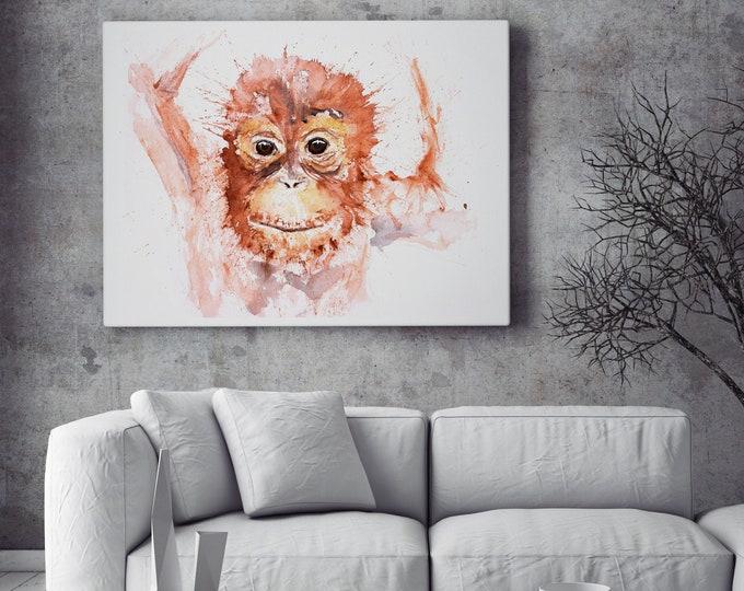 Orangutan Canvas Print- Hand Signed Baby Orangutan Painting