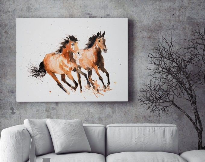 Wild Horse Canvas print- Hand Signed Horse Watercolour Wall Art