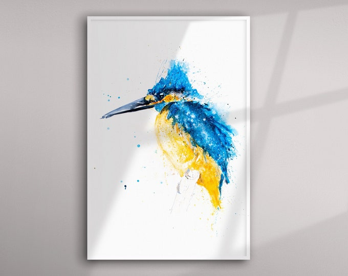 Kingfisher Painting - Kingfisher Watercolour Living Room Art Limited Edition Hand Signed Print of my Original Kingfisher Watercolor Painting