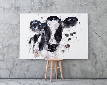 Cow Canvas Print - Hand signed Cow Wall Art of Watercolour 'Cow No2'
