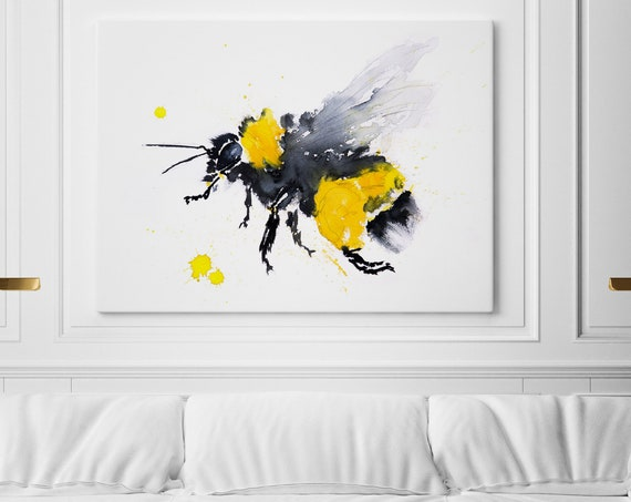 Bee Canvas Print Wall Art Bee Watercolour Watercolor Painting of my Original Abstract Bee Painting - Modern Bee Art Home Decor by Syman