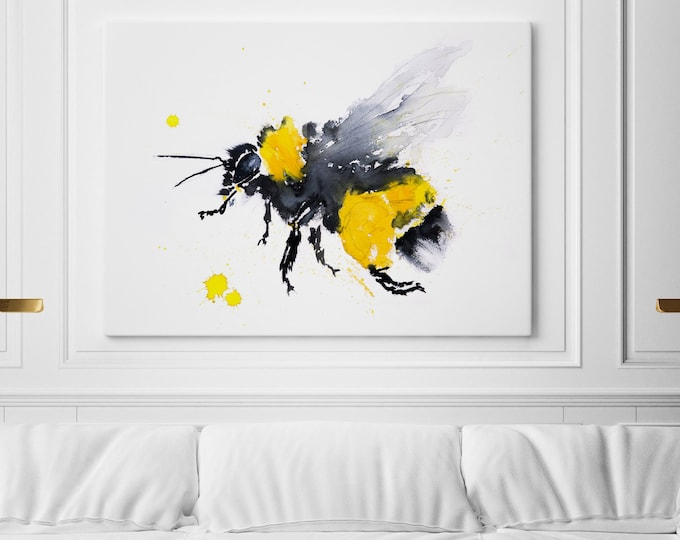 Bee Canvas Print - Hand Signed Bee Wall Art - Bee Watercolour Painting of my Original Abstract Bee