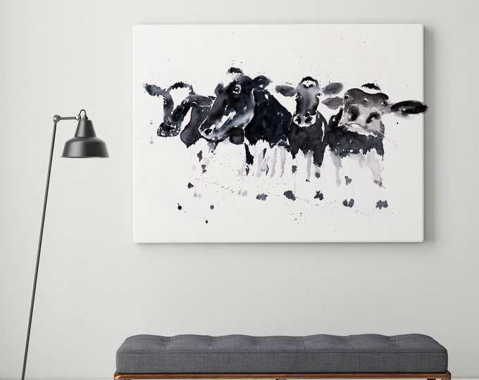 Row of Cows Canvas Print - Hand signed Cow Wall Art of Watercolour Painting of Abstract Cows - Cow Watercolour Art by Syman Kaye