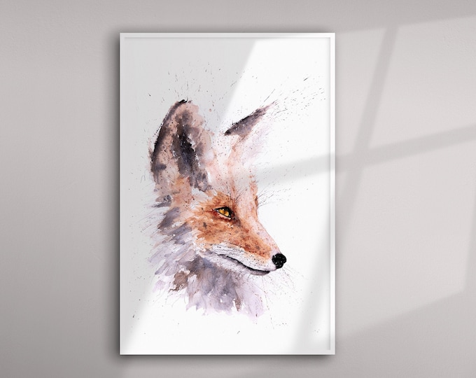 Fox Watercolour Painting - Fox Wall Art watercolour  Hand Signed Numbered Dated and Embossed Limited Edition Print of my Original painting