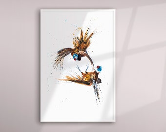Pheasant Limited Edition Watercolour Print of My Original Watercolor Painting of 2 Pheasants fighting. Modern Wall Art Home Decor Gift