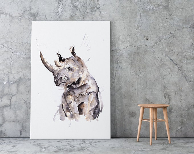 Rhino Canvas print - Hand signed by Syman Kaye -Rhinoceros Wall Art Watercolour Painting of my Original Living Room Art Rhino Painting