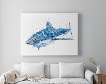Shark Canvas Print - Hand signed by Syman Kaye