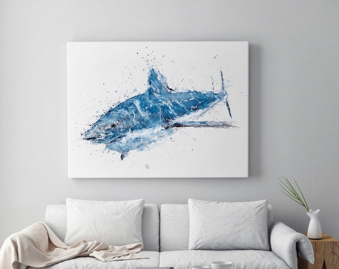 Shark Canvas Print - Hand signed by Syman Kaye