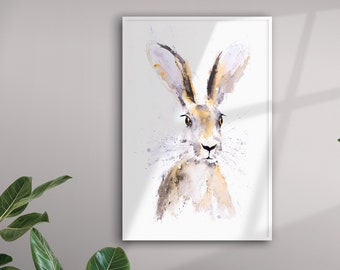Hermione Hare - Hand Signed Limited Edition Print of my Original Watercolour Painting of a Hare by Syman Kaye