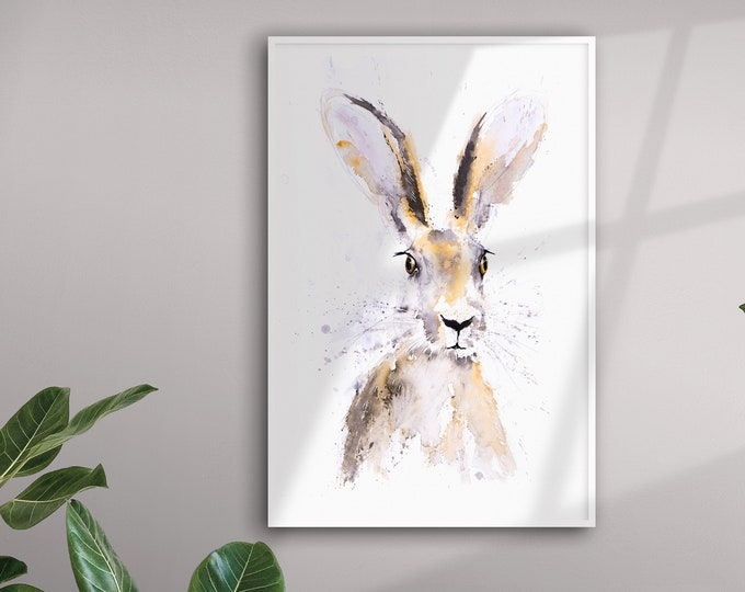 Hermione Hare - Hand Signed Limited Edition Print - Living Room Art - From my Original Watercolour Painting of a Hare