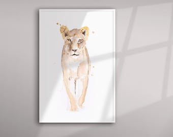 Lioness Painting - Lioness Watercolour Painting - Hand Signed Limited Edition Print of my Original Watercolour Painting of an African Lion