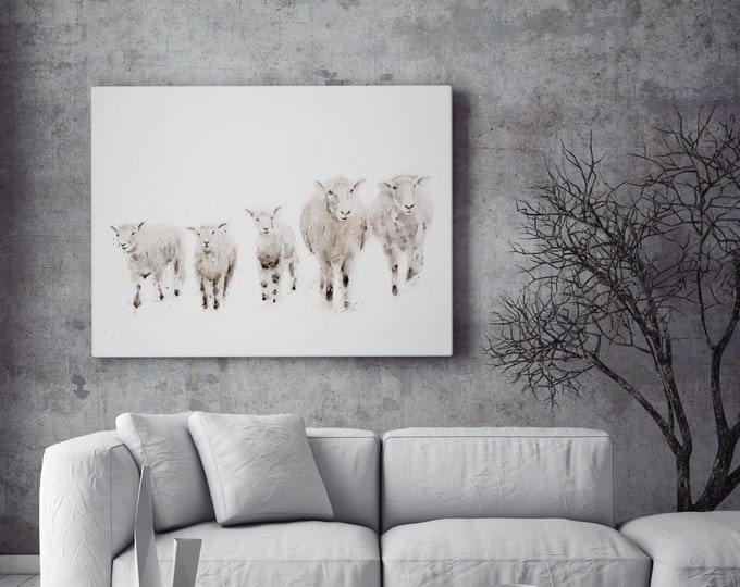 Sheep Canvas - Hand signed Abstract Canvas Print of original Watercolour