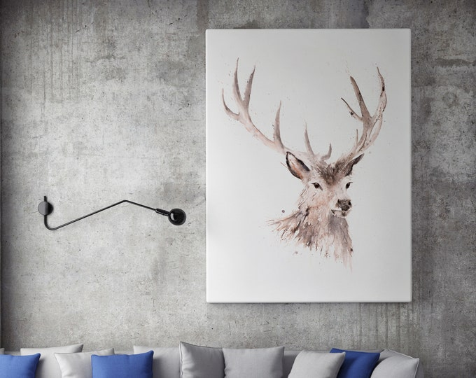 Stag Canvas print Hand signed by Syman Kaye - Stag Art Watercolour Painting of my Original Abstract Art Just a boy Painting Living room art