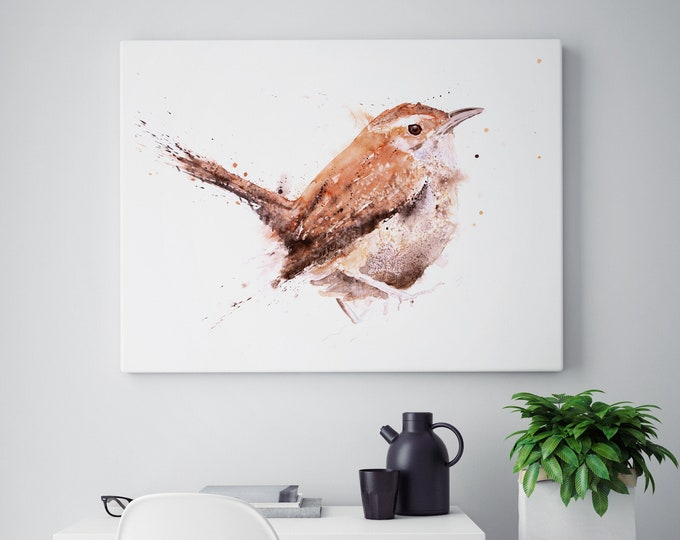 Wren Canvas Print- Hand Signed Wren Bird Painting