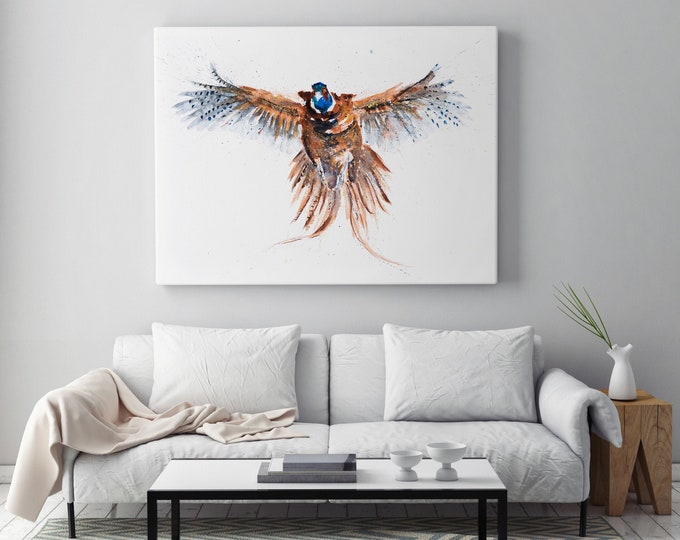 Pheasant Canvas print - Hand signed Canvas Print of a Flushed Pheasant