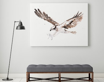 Osprey Canvas Print - Hand Signed Osprey canvas watercolour print
