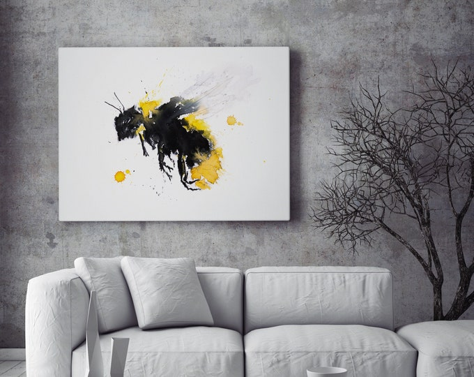 Bee Canvas Print - Hand Signed Bumble Bee Wall Art - Bee Watercolour Painting of my Original Abstract Bee Watercolor living room art