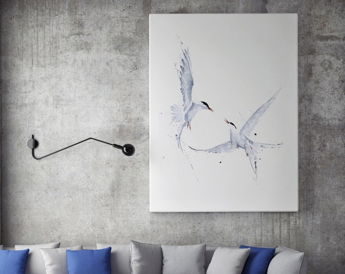 Arctic Angels Canvas print - Hand signed by Syman Kaye - Arctic Wall Art Watercolour Painting of my Original Abstract Art Angel Painting