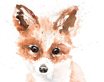 Mini Fox Painting - Signed limited Edition Print of my Original Water Colour Painting of a Baby Fox Cub Wall Art