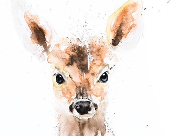 Mini Deer Painting - Signed Limited Edition Print of my Original Water Colour Painting of a Baby Deer or Fawn