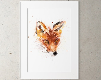 Fox Watercolour Painting - Fox Painting - Hand Signed Numbered Dated and Embossed Limited Edition Print of my Original Fox Painting