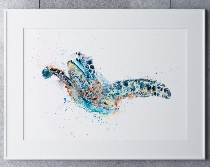 Turtle Watercolor Painting Watercolour Painting - Hand Signed Limited Print of my Original Watercolour Turtle Painting