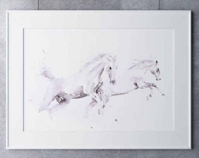 White Horse watercolor Watercolour Painting - Wall Art Hand Signed, Dated, Numbered and Embossed Limited Edition Print of my Horse Painting