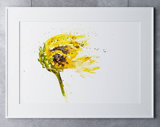 Sunflower Painting - Hand Signed Limited Edition Print of my Original Sunflower Watercolour Painting