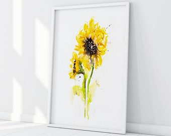 Sunflower Painting - Signed, Dated, Numbered and Embossed Limited Edition Print of my Sunflower Watercolour Painting - Sunflower Wall Art