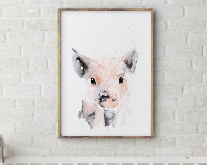 Mini Pig Painting - Signed Limited Edition Print of my Original Water Colour Painting of a Baby Pig or Piglet Wall Art