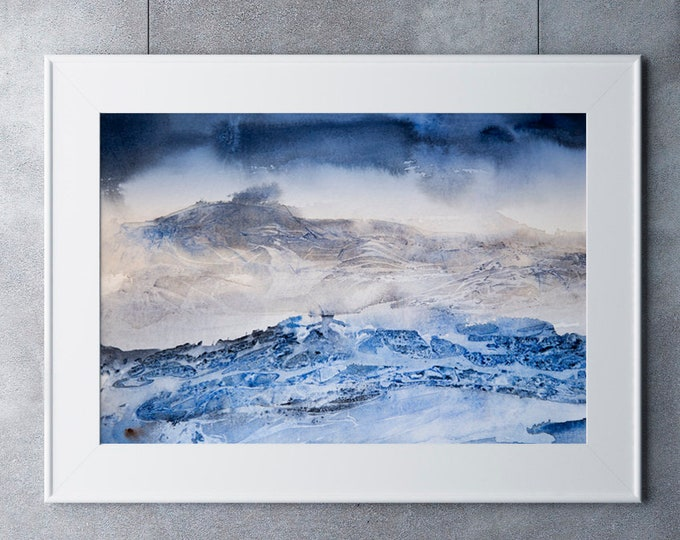 Abstract Mountain Landscape Print - Watercolour Painting - Hand Signed Numbered Embossed Limited Edition Print Modern Watercolour