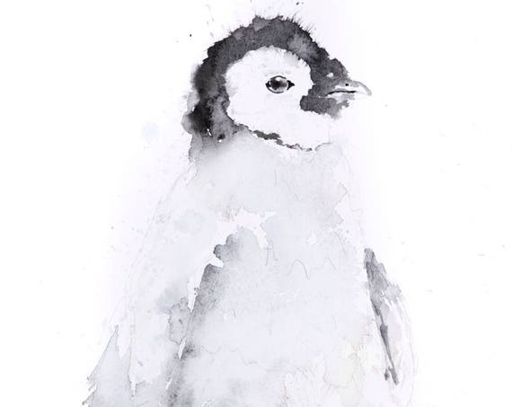 Mini Penguin No.2  - Limited Edition Signed Print of my original watercolour painting of a Baby Penguin - Decorative wall art fine art print