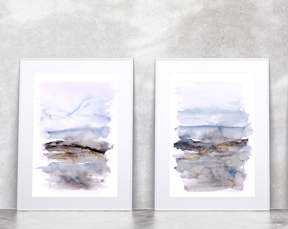 Abstract Landscape Prints - Watercolour Painting Abstract Wall Art Hand Signed Numbered Embossed Limited Edition Modern Watercolour