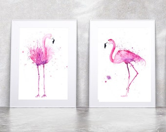 Flamingo Pair Print - Signed Limited Edition Prints of my original Abstract Watercolour Painting of Modern Pink Flamingos